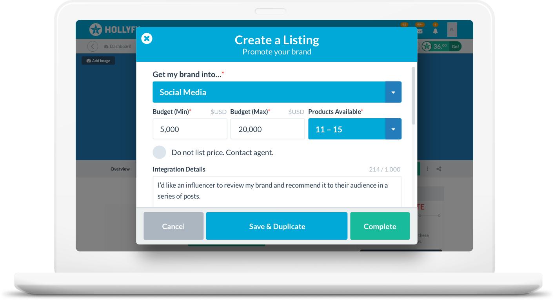 Create influencer listing